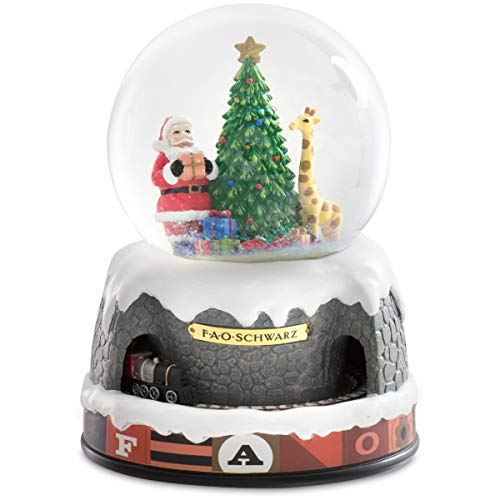 FAO Schwarz Holiday Snow Globe with Moving Train, Charming Christmas Scene with Santa Claus, Tree and Giraffe, Plays 5 Classic Christmas Songs, Battery-Powered Holiday Keepsake Décor with LED Glow
