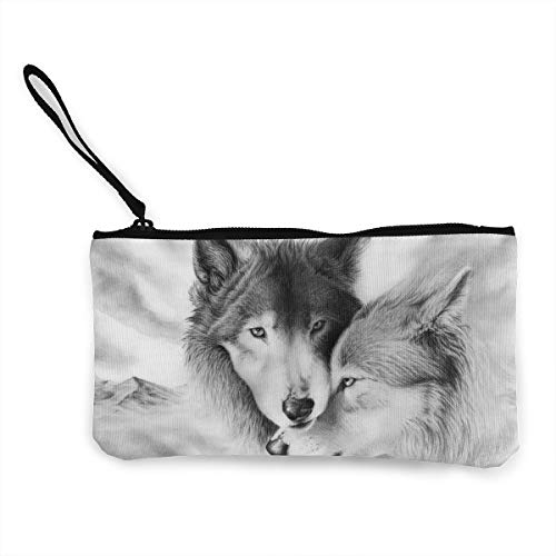 Oomato Canvas Coin Purse Cold Wolf Cosmetic Makeup