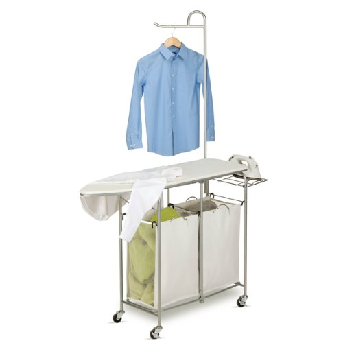 - Foldable Ironing Laundry Center and Valet, Material: Cotton, Metal, Wood