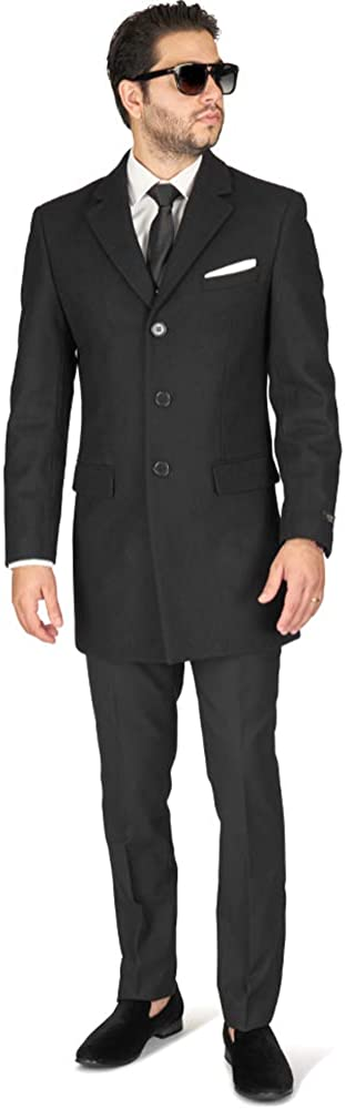AZAR MAN Slim Fit Wool Overcoat 3 Button Closure Classic Notched Lapel Top Trench Long Walker Pea Coat Single Breast