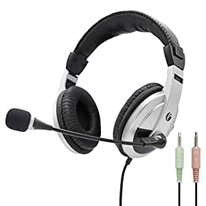 VCOM Computer Music Headsets with Adjustable Microphone and Volume Control Noise Cancelling Over Ear Stereo Gaming Business Office Skype Lightweight Headphone for Xbox Desktop Computer PC Laptop-Black