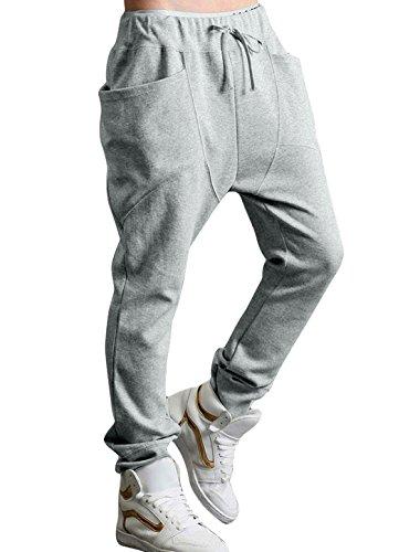Allegra K Men Double Big Pocket Elastic Waist Casual Pants Light Grey W28/30