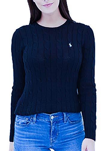 Polo Ralph Lauren Women Cable Knit Crew Neck Sweater (Medium, French-Navy/White Pony) (Ralph Lauren Clothing Women)