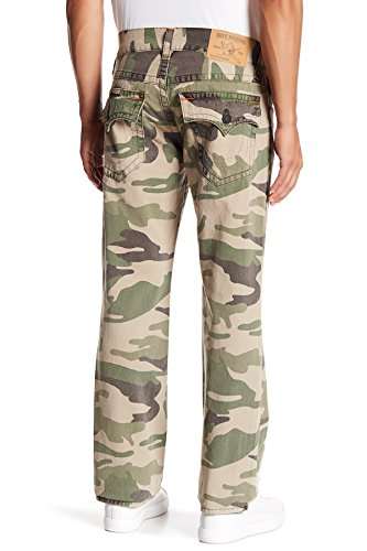 True Fit Camo (True Religion Men's Straight Leg Relaxed Fit Jeans w/Flap In Taupe Camo (32))