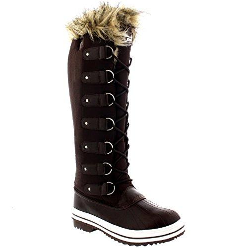 Mujer Manguito De Piel Cordones Caucho Altura De La Rodilla Zapato Bota Marrón Nylon