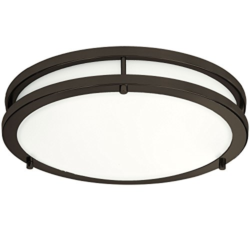 LB72160 12-Inch LED Flush Mount Ceiling Light, Oil Rubbed Bronze, 5000K Daylight, 1050 Lumens, ETL & DLC Listed, Energy Star, Dimmable LED Ceiling Light ()