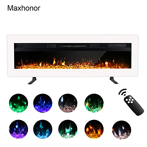 Maxhonor 40 Inches Electric Fireplace Insert Wall Mounted Freestanding Heater with Remote Control, 1500/750W, White (Fireplace Wall Electric Heaters)