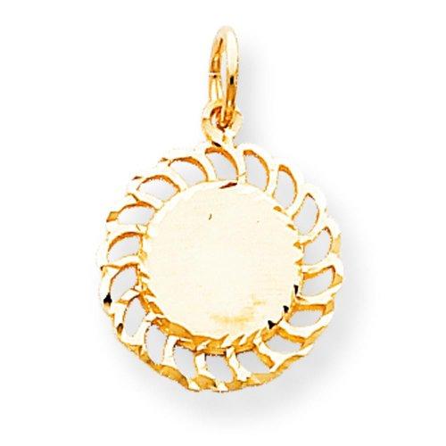 10K Yellow Gold Sun Circle Charm Sunshine Jewelry