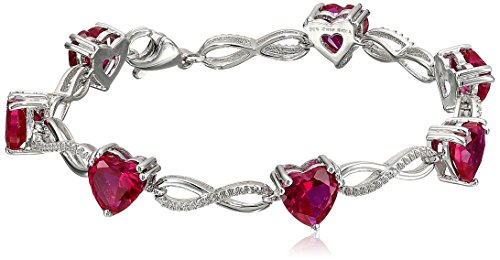 Sterling Silver Created Ruby Heart with Diamond Bracelet