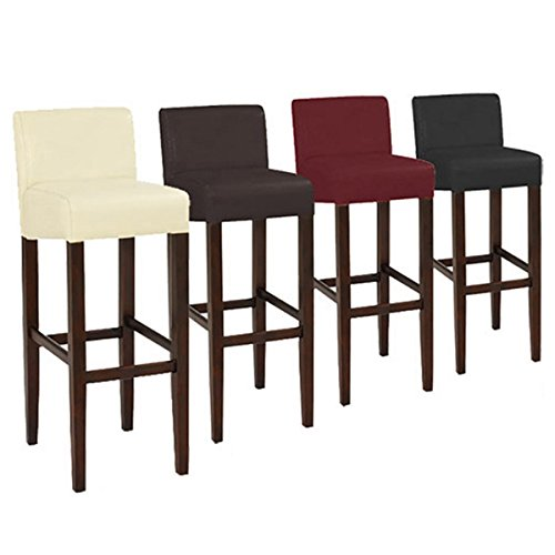 Plugtronics Modern & Contemporary Brooklyn Wood/Faux Leather Adjustable Armless Bar Stool (Set of 2) (Red) (Only Cream Stool Frame Bar)
