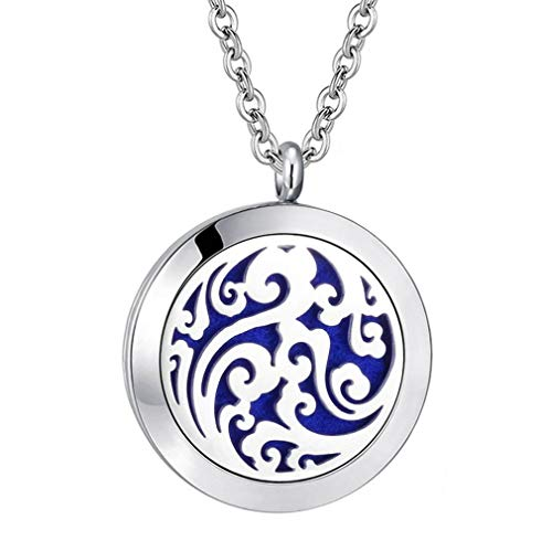 joymiao Essential Oil Diffuser Necklace Aromatherapy Locket Magnetic Closure Pendant Jewelry Set 24 Chain