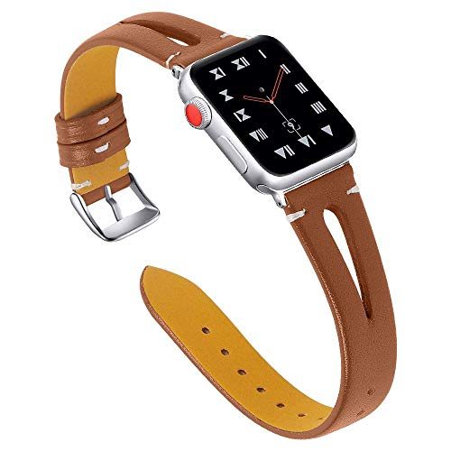 OULUCCI Leather Bands Compatible with Apple Watch 42mm 44mm, Slim Strap with Breathable Hole Replacement Wristband for Iwatch Series 4 3 2 1 ()