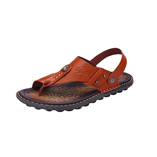 Toe Sandals Mens amp;W Strap Flops Ankle Flip H With Open Leather Brown q7nfwxtB1