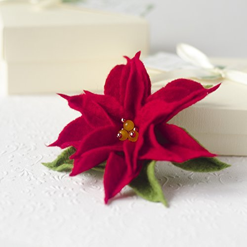 Handmade Christmas Jewelry for Women's Gift Idea Poinsettia Brooch Xmas Pin Red Flower Jewellery Gifts for Friends under 25 Hand made Present for Mother ...