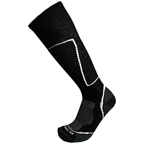 Ultimate Socks Womens Midweight Merino Wool Ski Snowboard Warm Socks Black Medium (Ultimate Boot Socks)