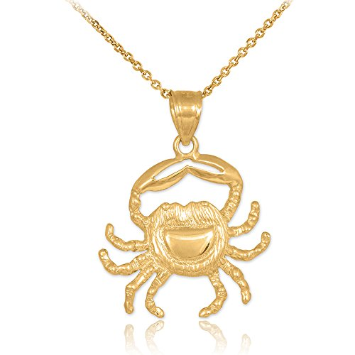 14k Yellow Gold Crab Charm Cancer Zodiac Pendant Necklace, 18