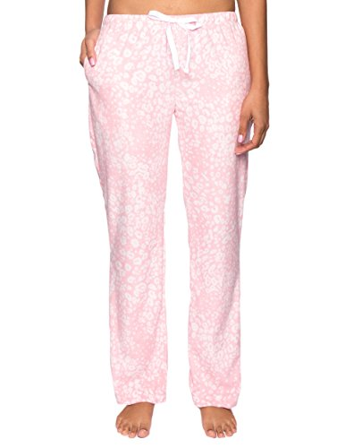Noble Mount Twin Boat Women's Microfleece Lounge Pants - Leopard Pink/White - XS (Pants Lounge Leopard)