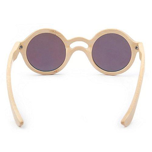 retro las azul calidad alta redondas de lente mujeres de mujeres gafas de de de de TAC mano bambú sol la color a de Gafas ligero de polarizadas Ultra conduce que ULTRAVIOLETA hecho sol las Protección qEZxROZ