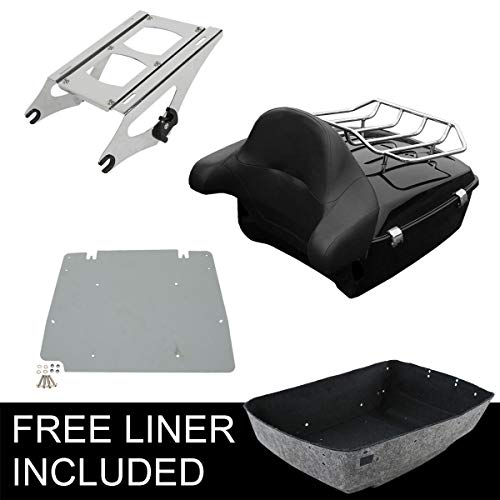 XFMT King Tour-Pak Luggage Tour Pak Pack Trunk &Detachables Two-Up Tour-Pak Mounting Rack Compatible with Harley Davidson 2014-later Road King, Road Glide, Street Glide and select CVO ()