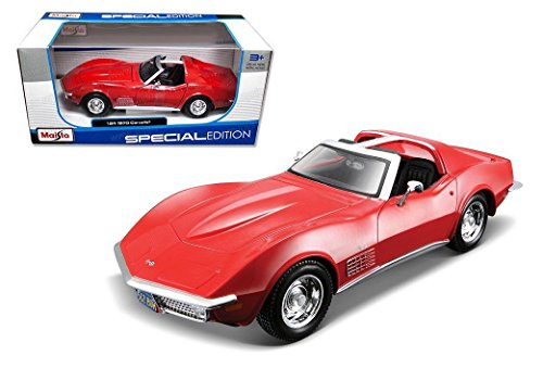 New 1:24 W/B SPECIAL EDITION - CANDY RED 1970 CHEVROLET CORVETTE Diecast Model Car By Maisto