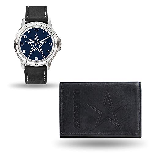 Roy Rose Gifts NFL Dallas Cowboys Black Leather Watch & Wallet Set