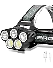 Built-in battery Headlamp Super Bright LED Headlight Flashlight Work Light with Power Indicator 12000 Lumen USB Rechargeable Waterproof 6 Modes for Outdoor Camping Hunting Fishing Hiking Biking