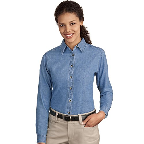 Port & Company LSP10 Ladies Long Sleeve Value Denim Shirt - Faded Blue - M ()