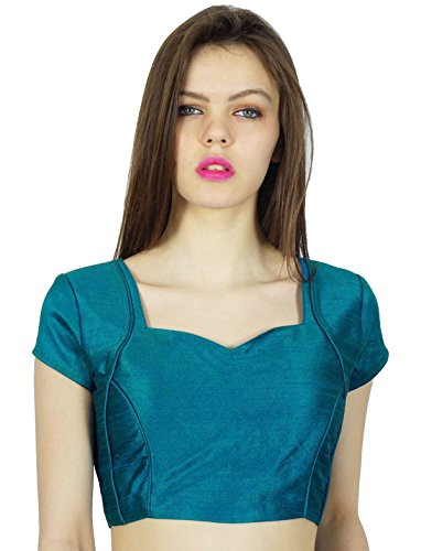 Phagun Designer Party Wear Dupion Blouse Crop- Top Choli Teal Blue