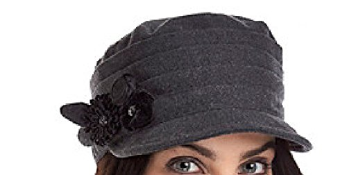 Nine West Pleated Worker's Cap with Flower - Grey , Dark Grey