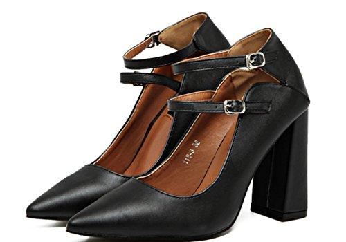 Doppio Pulsante Donne YCMDM poco profonda della bocca a punta di massima con Tacchi alti singoli pattini scarpe rosse da sposa , black , 39