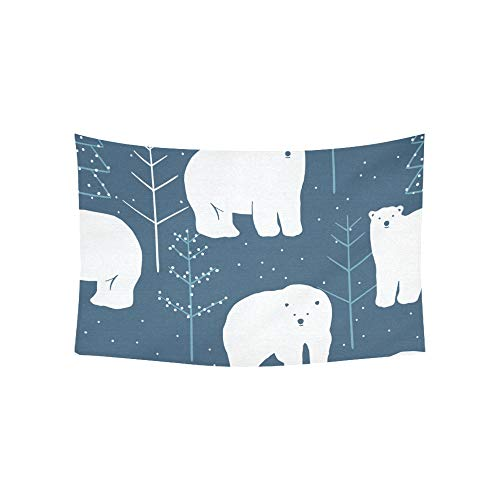 (WJJSXKA Tapestry Polar Bear Cartoon Animated Cute Design Animal Nature Tapestries Wall Hanging Flower Psychedelic Tapestry Wall Hanging Indian Dorm Decor for Living Room Bedroom 60 X 40 Inch)