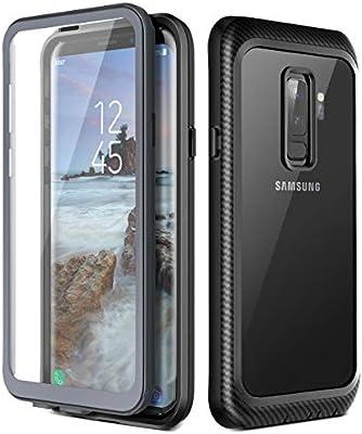 Prologfer Funda para Samsung Galaxy S9 Plus 360 Grados Transparente Carcasa Resistente con Protector de Pantalla incorporada Prueba de Golpes y Suciedad Cover para Samsung Galaxy S9 Plus Negro: Amazon.es: Electrónica
