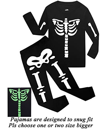 Boys Halloween Pajamas Skeleton-Glow-in-The-Dark Shirts Toddler Pjs Kids Clothes Sleepwear Size 6T