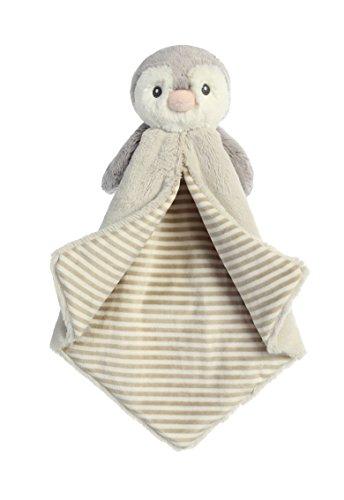 Aurora World Baby Pom Penguin Luvster Blanket Plush Toy, Gray