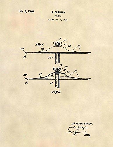 (Patent Prints - Vintage 1940 Zildjian Cymbal - Music Wall Art - Patent Art Poster (8.5 x 11