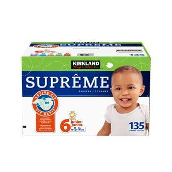 Kirkland Signature Supreme Diapers Size 6; Quantity: 135