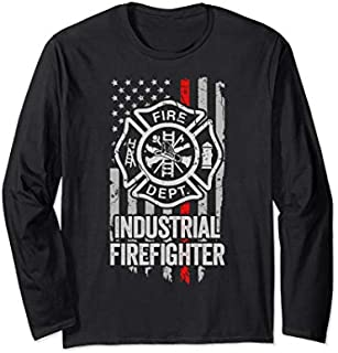 [Featured] American Flag Firefighter Red Line Industrial Firefighter Long Sleeve in ALL styles | Size S - 5XL