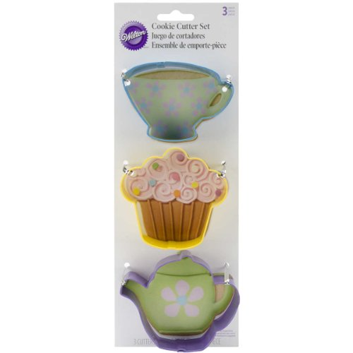 Wilton Tea Party Colored Metal Cutter Set, 3-Piece (Cookie Teacup Cutter)