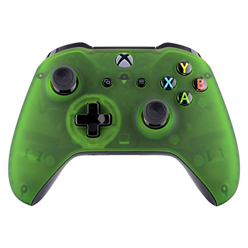 eXtremeRate Foggy Clear Green Faceplate Cover, Soft Touch Front Housing Shell Case, Comfortable Soft Grip Replacement Kit for Xbox One S & Xbox One X Controller