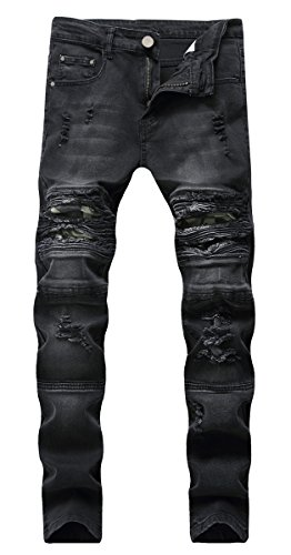 DANTILE Men's Stretch Distressed Ripped Skinny Destroyed Slim Fit Biker Jeans Pants with Holes, Black, ()