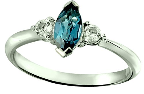 (RB Gems Sterling Silver 925 Ring Genuine Gemstone Marquise 8X4 mm, 0.91 Cts, Rhodium-Plated Finish (8, London-Blue-Topaz))