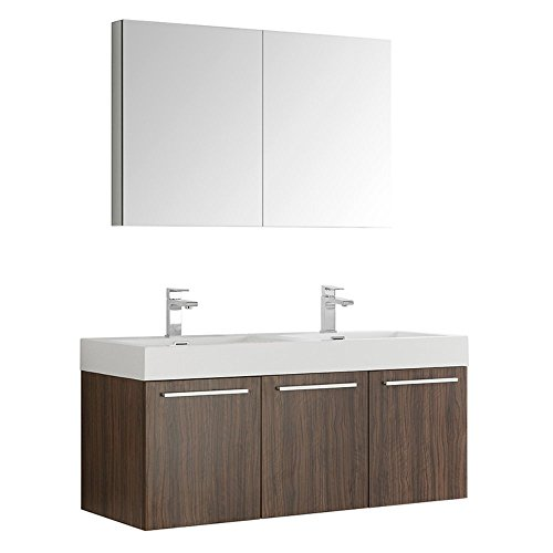 nut Wall Hung Double Sink Modern Bathroom Vanity with Medicine Cabinet (Fresca Vista Walnut)