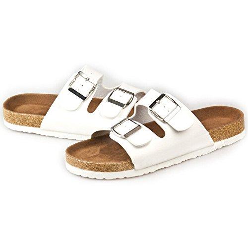 SODIAL(R) Neue Korken flache Schuhe Sandalen Maenner und Frauen Sommer Flip Flops Unisex laessig Pantoffeln Schuhe Groesse 5 Weiss Weiß