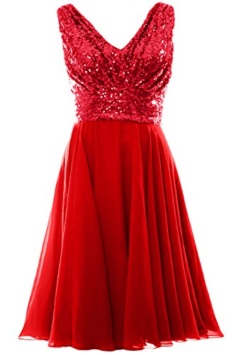 Party Gown V Short MACloth Sequin Red Wedding Dress Bridesmaid Chiffon Neck Women vqUwp0g
