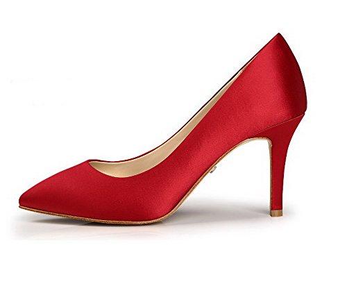 Allhqfashion Mujer Seda Material Suave Slip-on Tacón Medio Puntera en Punta ZapatosdeTacón Rojo