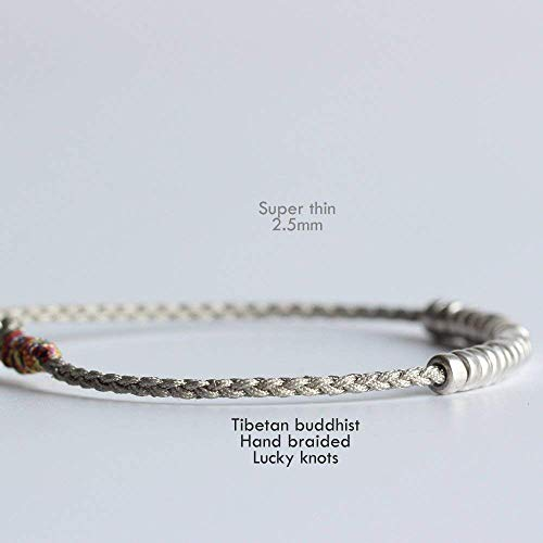 TALE Lucky Rope Bracelet Tibetan Monk Hand Braided Knots - White Copper Lucky Beads