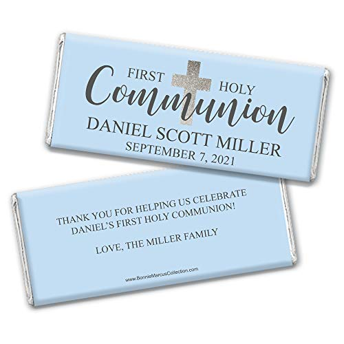 Boy First Communion Party Favors Personalized Wrappers for Hershey's Chocolate Bars (25 Count) - Chocolate Communion Favors