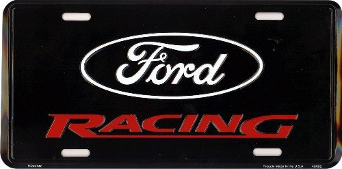 Ford Racing 6 x 12 metal auto tag with universal mounting slots