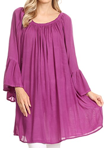 Manches 3 Light Violet Boho Top Large Summer Sakkas Flowy Anna Blouse Neck 4 Casual OwqYf1zxX