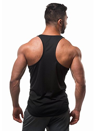 Y Men For Backstroke fit Microfiber Stringer Noir Clips In Jed Dri Bodybuilding North Back Tank O7nxEBZ
